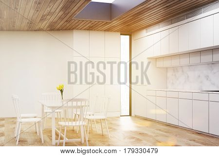 White Kitchen With Round Table, Wood, Toned