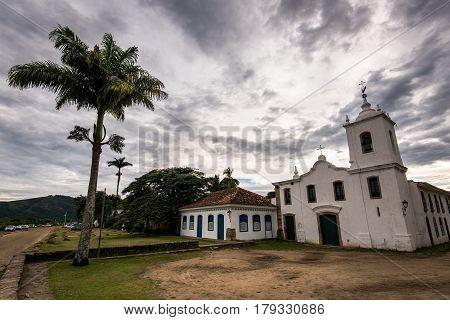 Colonial Nossa Senhora das Dores Church in Historical Center of Paraty, Brazil