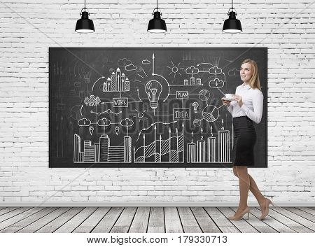 Woman With Coffee And Business Scheme, Brick