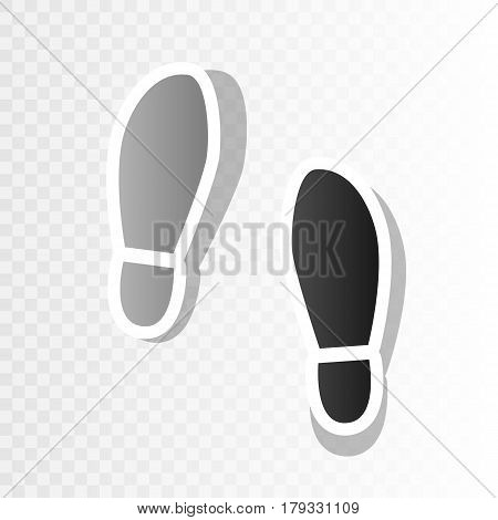 Imprint soles shoes sign. Vector. New year blackish icon on transparent background with transition.