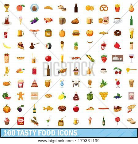 100 tasty food icons set in cartoon style for any design vector illustration