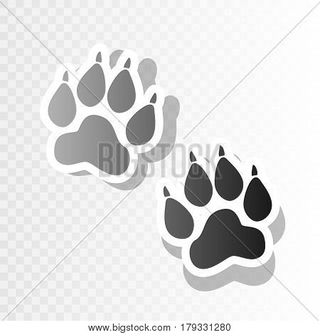 Animal Tracks sign. Vector. New year blackish icon on transparent background with transition.
