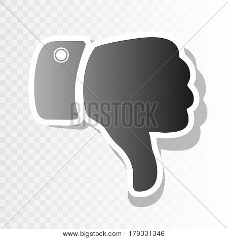 Hand sign illustration. Vector. New year blackish icon on transparent background with transition.