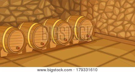 Beer cellar horizontal banner concept. Cartoon illustration of beer cellar vector horizontal banner for web
