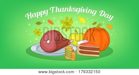 Thanksgiving food horizontal banner concept. Cartoon illustration of thanksgiving food vector horizontal banner for web