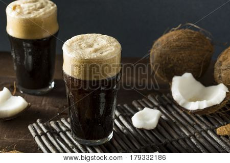 Refreshing Cold Dark Coconut Beer
