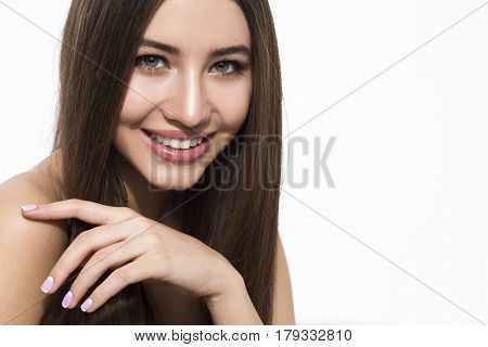 Cheerful Woman With Brown Hair