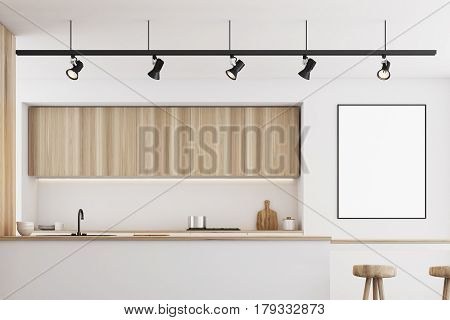 White Kitchen With Bar And Poster, Closeup