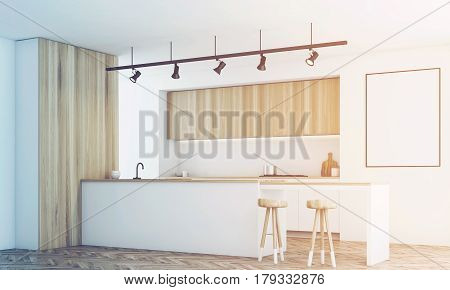 White Kitchen With Bar And Poster, Side, Toned