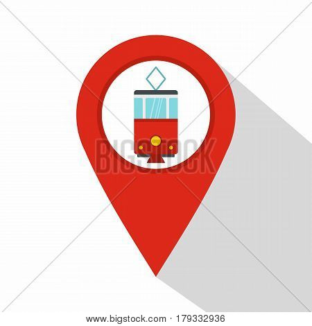 Red map pointer with tram symbol icon. Flat illustration of red map pointer with tram symbol vector icon for web isolated on white background