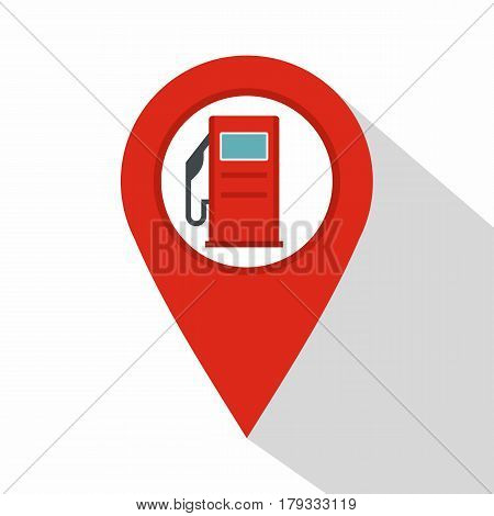 Red map pin with gas station sign icon. Flat illustration of red map pin with gas station sign vector icon for web isolated on white background