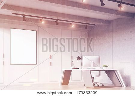 Ceo Office With A Futuristic Table, Side, Toned