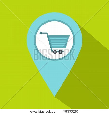 Supermarket location icon. Flat illustration of supermarket location vector icon for web isolated on lime background