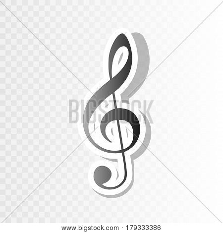Music violin clef sign. G-clef. Treble clef. Vector. New year blackish icon on transparent background with transition.