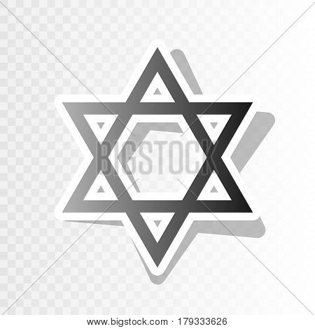 Shield Magen David Star. Symbol of Israel. Vector. New year blackish icon on transparent background with transition.