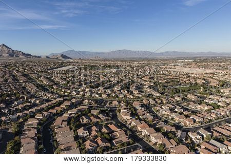 Aerial view of modern homes in the area of Las Vegas, Nevada.