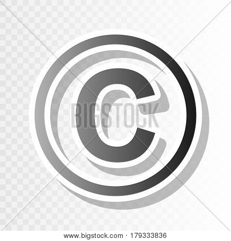 Copyright sign illustration. Vector. New year blackish icon on transparent background with transition.