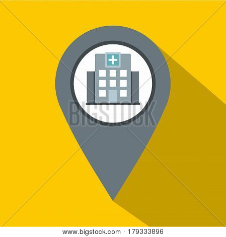 Gray map pointer with symbol hospital or medicine icon. Flat illustration of gray map pointer with symbol hospital or medicine vector icon for web isolated on yellow background