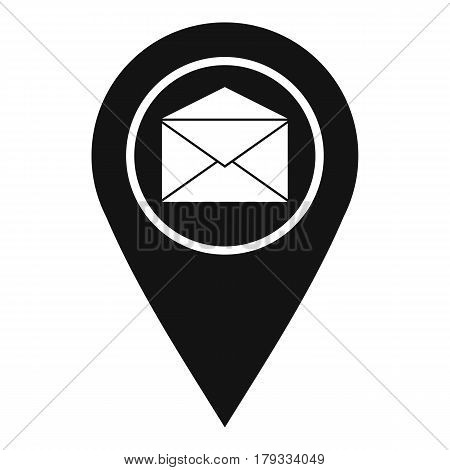 Marker location with envelope sign icon. Simple illustration of vector icon for web