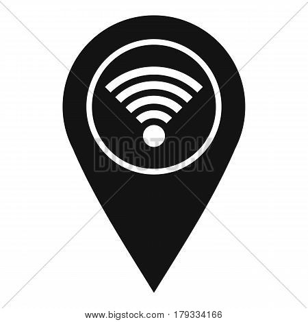 Map pin pointer with wi fi symbol icon. Simple illustration of map pin pointer with wi fi symbol vector icon for web