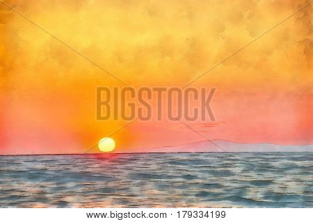 Digital watercolor painting of a sunset on Sithonia (Longos) middle-south part on Chalkidiki peninsula in Greece.