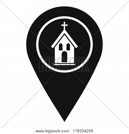 Map pointer with church, cathedral or temple sign icon. Simple illustration of map pointer with church, cathedral or temple sign vector icon for web