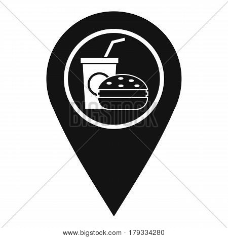 Fast food and restaurant map pointer icon. Simple illustration of fast food and restaurant map pointer vector icon for web