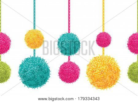 Vector Fun Colorful Decorative Hanging Pompoms Horizontal Seamless Repeat Border Pattern. Great for handmade cards, invitations, wallpaper, packaging, nursery designs. Surface pattern design.