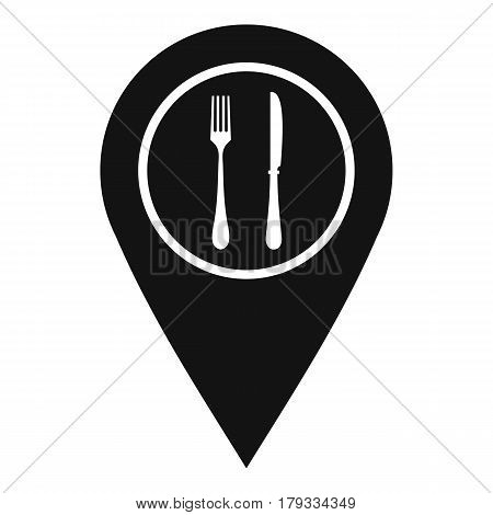 Map pin pointer with cafe or restaurant sign icon. Simple illustration of map pin pointer with cafe or restaurant sign vector icon for web