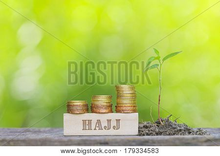 Hajj Word Golden Coin Stacked With Wooden Bar On Shallow Dof Green Background.