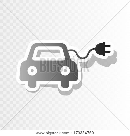 Eco electric car sign. Vector. New year blackish icon on transparent background with transition.