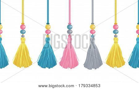 Vector Colorful Decorative Tassels, Beads, And Ropes Horizontal Seamless Repeat Border Pattern. Great for handmade cards, invitations, wallpaper, packaging, nursery designs. Surface pattern design.