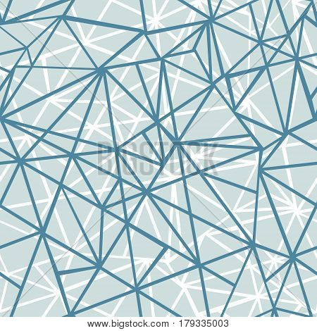 Vector Silver Grey Blue Wire Geometric Mosaic Triangles Repeat Seamless Pattern Background. Can Be Used For Fabric, Wallpaper, Stationery, Packaging. Surface pattern design.
