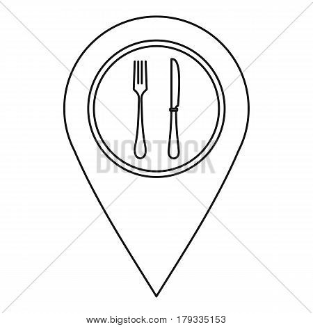 Map pointer with restaurant sign icon. Outline illustration of map pointer with restaurant sign vector icon for web