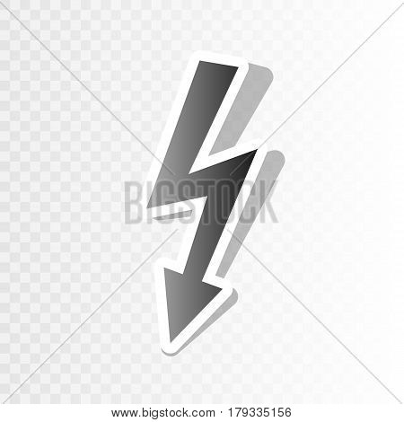 High voltage danger sign. Vector. New year blackish icon on transparent background with transition.