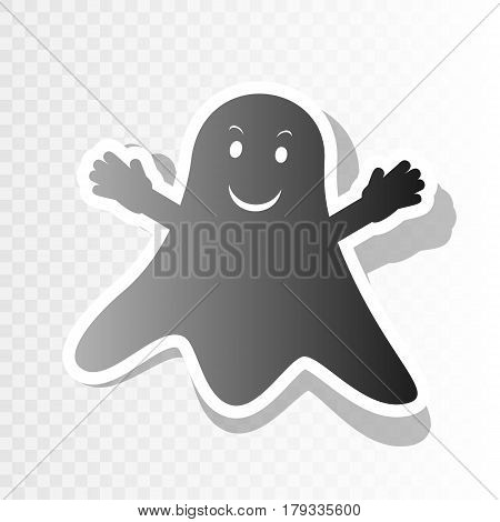 Ghost isolated sign. Vector. New year blackish icon on transparent background with transition.