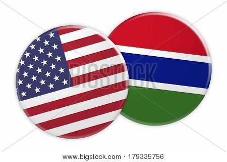 US News Concept: USA Flag Button On Gambia Flag Button 3d illustration on white background