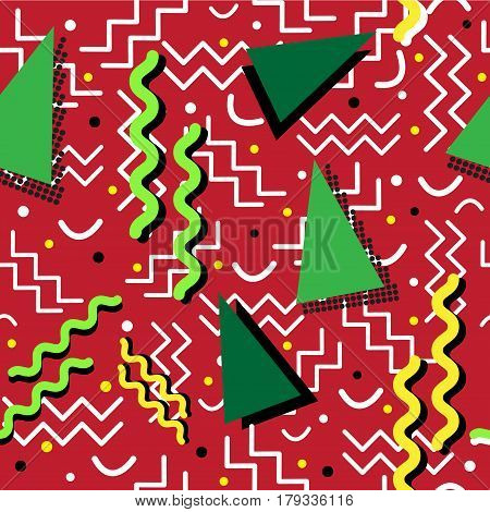A funky seamless Memphis style design with holiday colors over red.