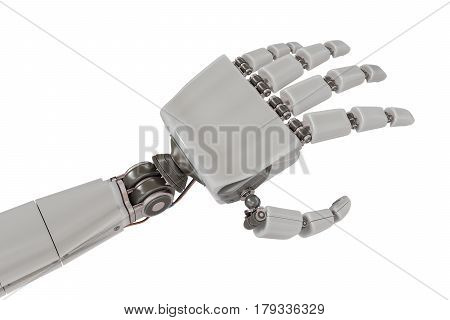 Cyborg Metallic Hand Isolated On White Background. 3D Rendered I