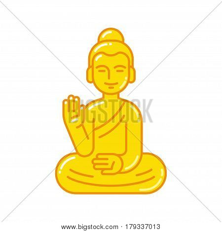 Golden Buddha statue with raised hand. Simple flat vector style icon. Buddhism religion symbol.