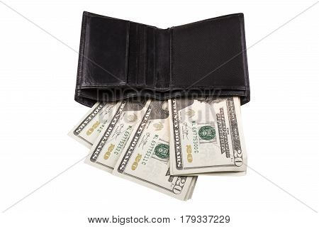 Black men's purse with money isolated on white background