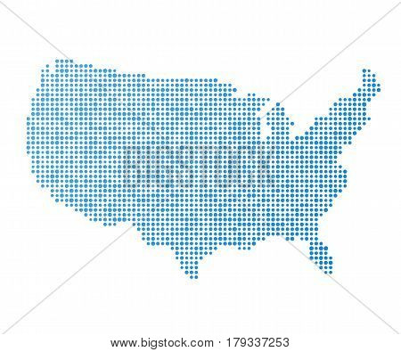 Stylized mainland USA map vector illustration in blue color abstract pixelated dot pattern.