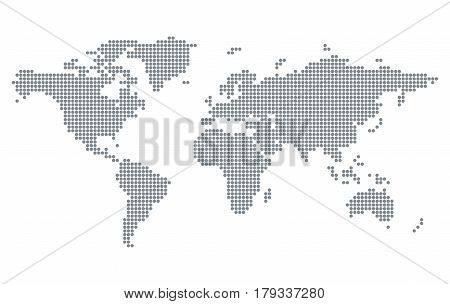 Pixelated world map isolated on white background. Stylized dotted vector Earth template for website infographics design. Modern flat illustration.