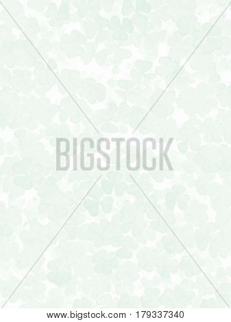 Bright Green, Many Clovers, Randomly Located, On White Background.