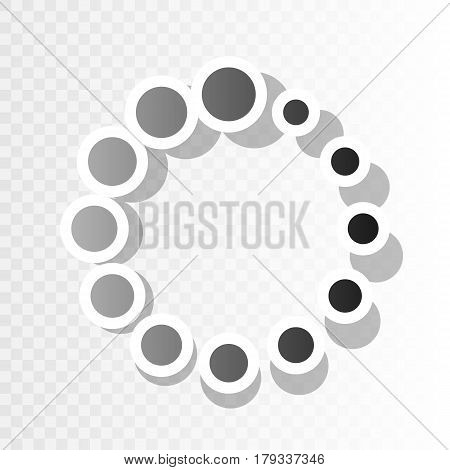 Circular loading sign. Vector. New year blackish icon on transparent background with transition.