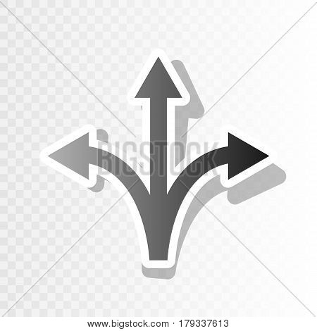 Three-way direction arrow sign. Vector. New year blackish icon on transparent background with transition.