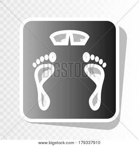 Bathroom scale sign. Vector. New year blackish icon on transparent background with transition.