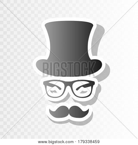 Hipster accessories design. Vector. New year blackish icon on transparent background with transition.