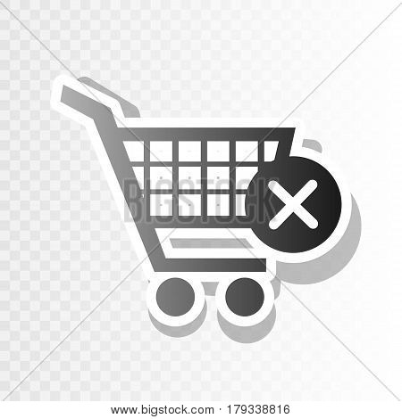 Shopping Cart with delete sign. Vector. New year blackish icon on transparent background with transition.