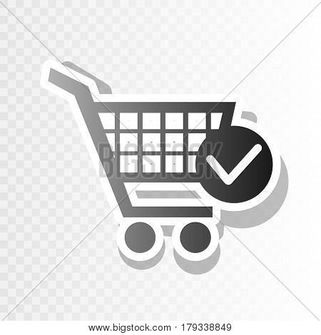 Shopping Cart with Check Mark sign. Vector. New year blackish icon on transparent background with transition.